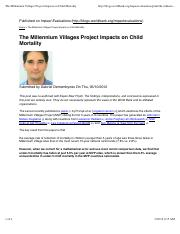 The Millennium Villages Project Impacts on Child Mortality