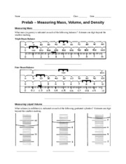 picture about Triple Beam Balance Worksheet Printable named Prelab - Measuring M Quantity amp; Denisty - Reputation Cl