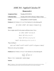AMS 361: Applied Calculus IV Homework 6-solution