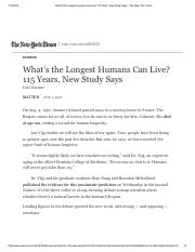 What's the Longest Humans Can Live_ 115 Years, New Study Says - The New York Times.pdf
