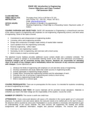 Engr 105 Course Objectives and Class Conduct Fall 2013