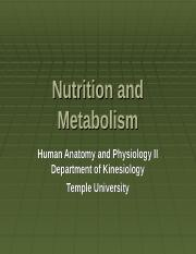 A&P 1224 - Nutrition and Metabolism - Blackboard