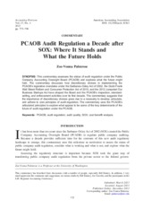 PCAOB Audit Regulation a Decade after SOX