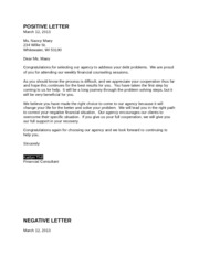positive letter and negative letter papers