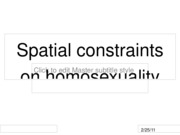 Spatial constraints on homosexuality