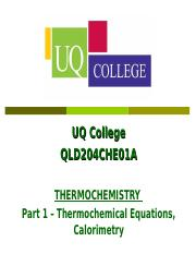 12a Thermochemical Equations Calorimetry - UQ College