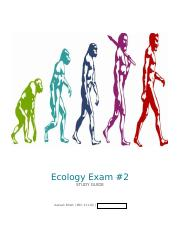 Exam #2 Study Guide for Ecology