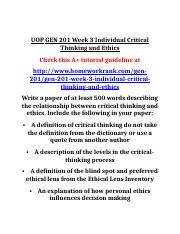 UOP GEN 201 Week 3 Individual Critical Thinking and Ethics.docx