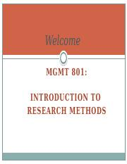 Week 1a 2014 MGMT 801 Introduction