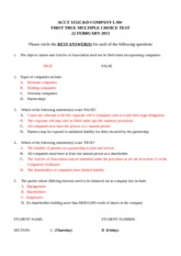 Class test 22 Feb 2013 - Answers