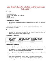Lab Report - Reaction Rates and Temperature Laboratory.rtf