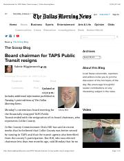 Ch 3-Board chairman for TAPS Public Transit resigns - - Dallas Morning News (2) govt
