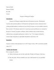 Samreen bio 1002 enzyme lab report