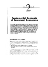 Fundamental Concepts of Equipment Economics