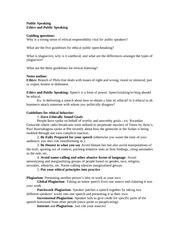 Notes on Public Speaking Ethics Public Speaking