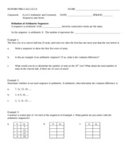 8_2-8_3 Classwork - Arithmetic _ Geometric Series and Sequences