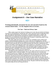 Assignment 6 - Use Case Narrative - KEY