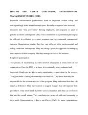 HEALTH AND SAFETY CONCERNING ENVIRONMENTAL MANAGEMENT SYSTEM.docx