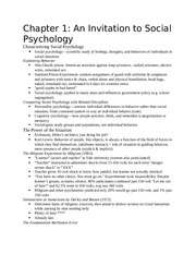 Textbook Notes, An Invitation to Social Psychology