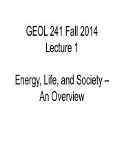 GEOL241 F2014 Lect1 -- Energy&Society