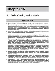 Job-Order Costing and Analysis Assignment Problems and Solutions