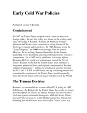 Early Cold War Policies