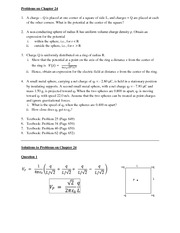 Solutions to Problem set on Chapter 24