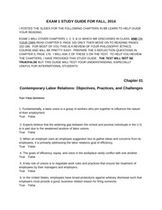 Bus 441 Budd 3e - Exam 1 STUDY GUIDE - Fall 2014