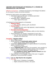 Lecture 5 Class Notes, Anatomy and Physiology of Personality