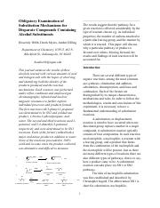 Obligatory Examination of Substitution Mechanisms for Disparate Compounds Containing Alcohol Substit