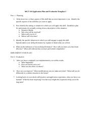 2MGT 310 Application Plan and Evaluation Template