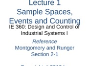 Lecture 1 Ch 2 Sample Spaces Events Counting