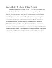 Unit 8 Journal Entry  - AI and Critical Thinking.docx