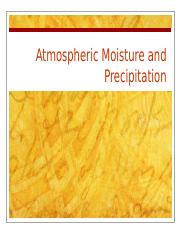 Lecture 4 Atmospheric Moisture and Precipitation