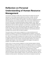 Reflection on Personal Understanding of Human Resource Management.docx