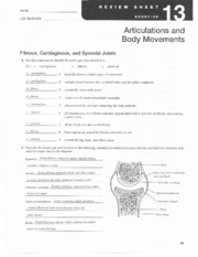 Chapter 13_Articulations - N AME LAB T IMEiDATE Articulations nd a Body M ovements Fibrous ...