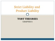 Chapter 6 - Strict Liability and Product Liability