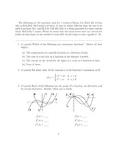 Exam 1 Fall 2012 on Calculus
