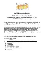 Cell Membrane Project 2013
