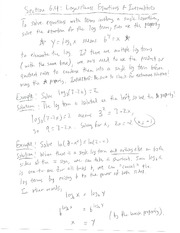 Section 6.4 - Logarithmic Equations and Inequalities