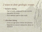 Relative dating compared to absolute dating
