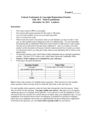 Federal Trademark and Copyright Registration Practice Final Exam