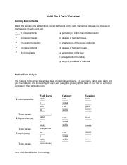 Medical Terminology unit 1 assignment pdf - Unit I Word