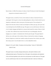 Evolution of Intelligence/Conscience Annotated Bibliography