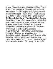 Cham Cham Full Video Docx Cham Cham Full Video Baaghi Tiger Shroff Kala Chashma Baar Baar Dekho Sidharth Mashallah Full Song Ek Tha Tiger Course Hero