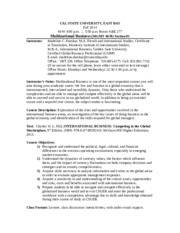 SYLLABUS MGNT4670 Fall 2014  Section 01 Hayward