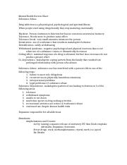 Mental Health Review Sheet