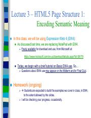 Lecture 3 - HTML5 Sectioning (Part 1)-w-MakeupClassAnnouncement