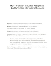 MGT449 Week 4 Individual Assignment Quality Textiles International Scenario