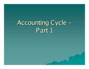 Accounting Cycle – Part 1